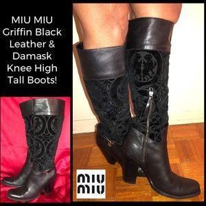 MIU MIU Griffin Leather & Damask Knee High Boots!